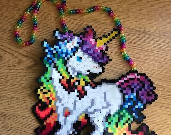 Unicorn perler kandi necklace