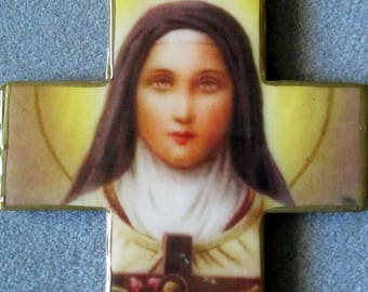 St. Therese of Lisieux Handmade Catholic Large Wall Cross Crucifix Wood Resin- Patron of Aids Victims T2