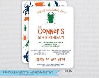Bugs and Insects Outdoor Party Invitation - DIY - Instant Download & Editable File - Personalize at home with Adobe Reader