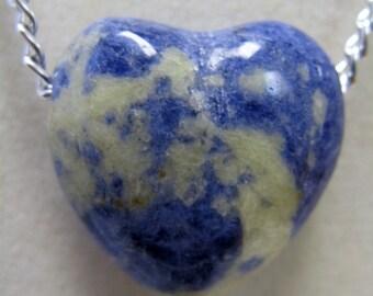 Sodalite Heart Necklace --  Sodalite Heart Pendant on a Chain
