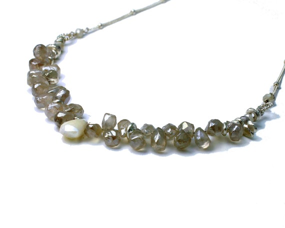 Mystic Chalcedony necklace. Briolette Necklace. Gemstone Necklace in Whites and Greys. Silver Necklace.  NS-2113