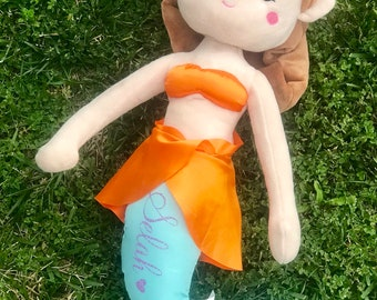 """Personalized 18"""" Brown Haired Mermaid Plush"""