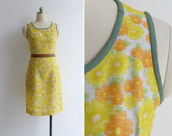 Vintage 70's 'Feedsack Floral' Daisy Cotton Wiggle Dress XXS or XS