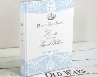 Crown Prince Baby Shower Guest Book, Wishes for Baby, Parent Advice Book - Custom Personalized Baby Boy Shower Blue and White Damask Y