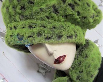 adjustable beret Hat winter hat, caiman flash green and gray taupe, embossed Fishscale crocodile custom 62-63-cm/XXL, faux-fur of luxury
