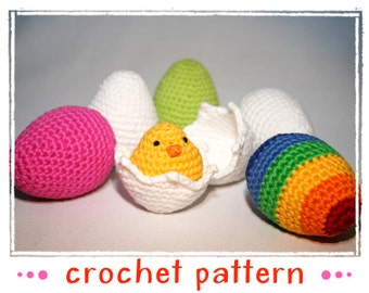 Egg Collection & Chick - Crochet Pattern - PDF file - Amigurumi