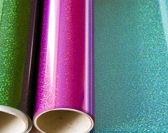 12'' x 19.5'' iron on glitter vinyl sheet, htv glitter vinyl, heat transfer vinyl, holographic vinyl, gol foil iron on, metallic vinyl sheet