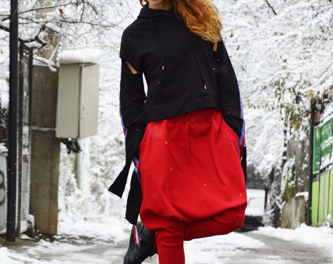 Red Cotton Knit Drop Crotch Pants, Casual Harem Maxi Pants, Extravagant Loose Bottom Red Pants by SSDfashion