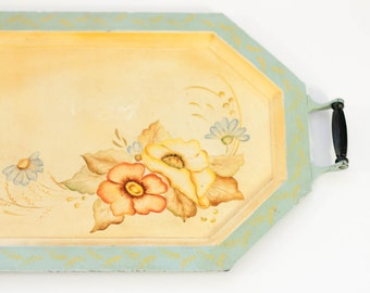 Vintage tole painted metal tray pastel floral octagon with wooden handles shabby chic light blue yellow orange