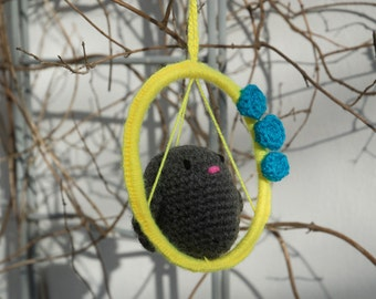 Fat grey amigurumi bird