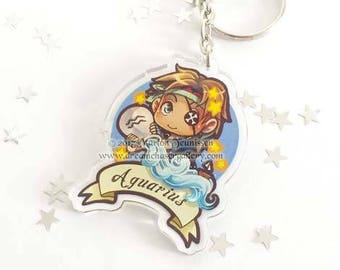 Chibi Zodiac Aquarius keychain