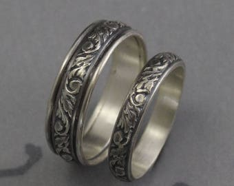 Silver Wedding Bands~Wedding Band Set-~His and Hers Rings~Silver Wedding Rings~Leaf and Swirl Design Bands~Going Baroque Bands