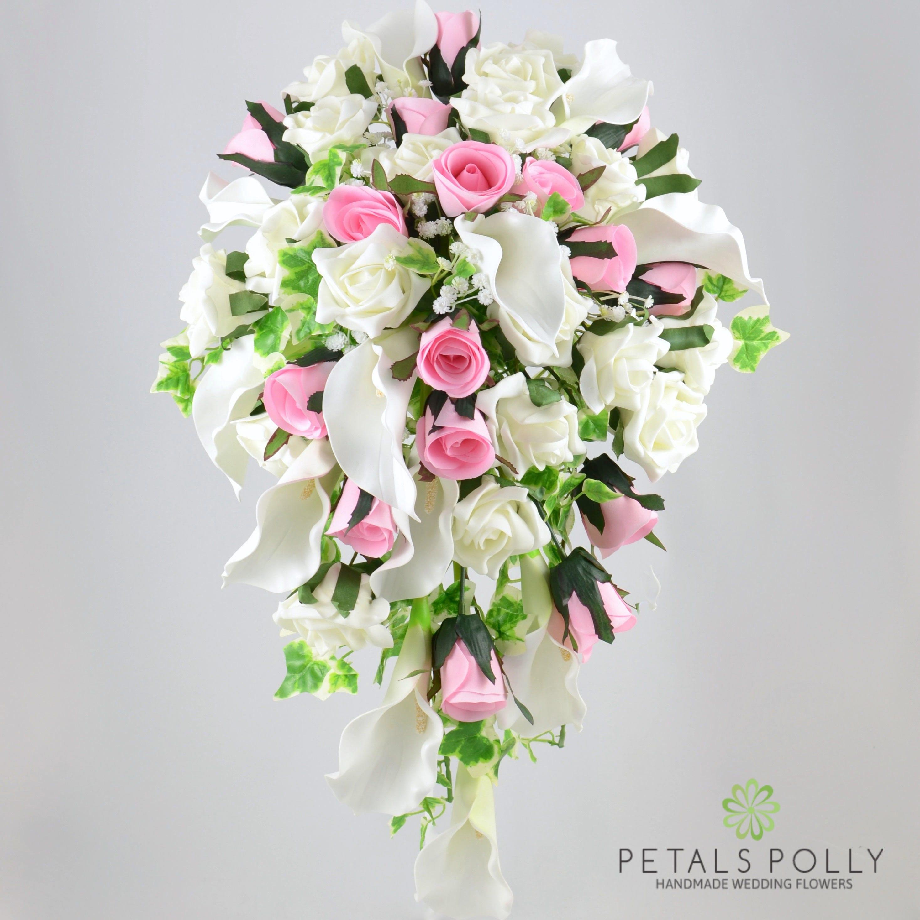 Artificial Wedding Flowers Baby Pink Rose Ivorycream Calla