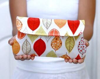 Autumn/ Fall Leaf clutch in cream. Simple clutch - bridesmaid clutch - wedding clutch