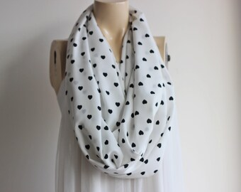 Heart Scarf /Circle Scarf /Loop Scarf /Tube Scarf -White Infinity Scarf-White and Black Scarf