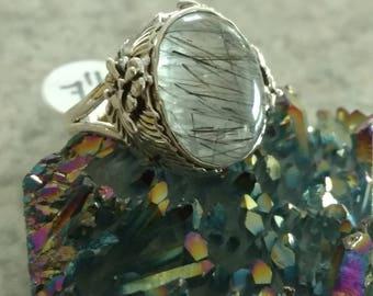 Black Tourmalinated Quartz  Ring, Size 7 1/2
