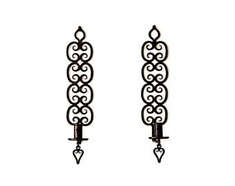Pair of T Grimstad Norwegian Hand-Forged Wrought Iron Wall Sconces