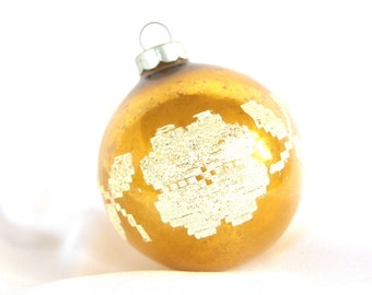 Vintage Christmas Ornament with Venetian Dew, Gold Flower Power USA Ornament