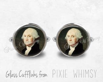 GEORGE WASHINGTON Cufflinks, President Cuff Links, Historical Cuff Links, Gift for History Lover, Mens Accessories, Gift For Men
