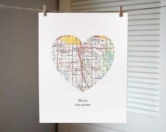 Moore Oklahoma Heart Map Print, Moore Map Art, Oklahoma Print, Custom Map Art