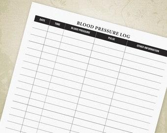 Blood Pressure Log Printable Form PDF for Patients, Blood Pressure Tracker, Medical Forms, A4, Letter, Digital File, Instant Download