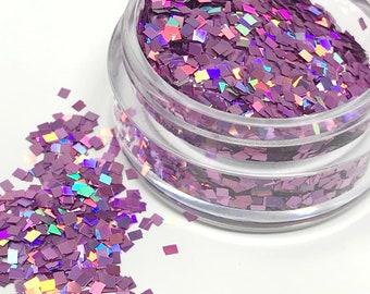 Light Purple Holographic Glitter Square Mix Solvent Resistant for Nail Art Decor Holo