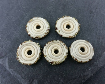 5 ivory fritty glass discs | Handmade lampwork glass.