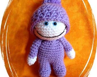 "Doll ""Bertie"", Amigurumi, 2 x divided, handmade, unique, 2-way jointed, handmade, OOAK"