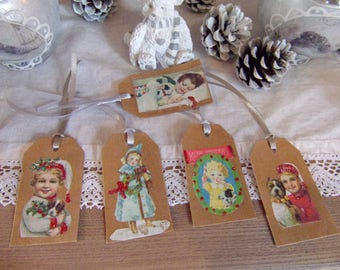 style 5 children and dogs tags scrapbooking bookmarks decoration Christmas gift tags retro vintage 4 x 7 cm made hand