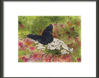 Mother's Day Gift Idea Instant Print Download 5x7 Print from Watercolor Batik Black Butterfly for framing