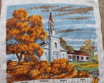 Vintage Linen Tea Towel, 1979 Calendar, White Church in Autumn, Calendar Tea Towel, Same Calendar as 2018