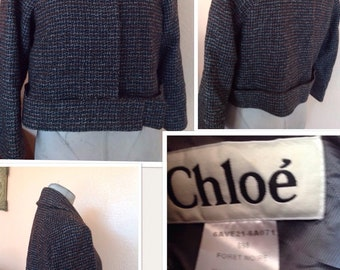 Vintage Chloe Made In France Tweed short waist blazer size 42
