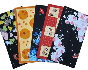Japanese Gifts Furoshiki Cloths Set of Five Designs Cotton Japanese Fabric 50cm w/Free Insured Shipping
