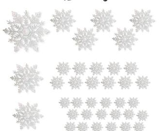 White Glittered Snowflakes - 42 Christmas Snowflakes Covered in White Glitter - Assorted Sizes of Small, Medium and Large Snowflakes  3539-6