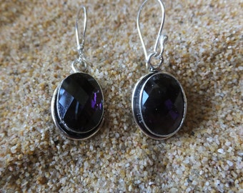Amethyst and Sterling Silver Earrings  1.5 inches in length