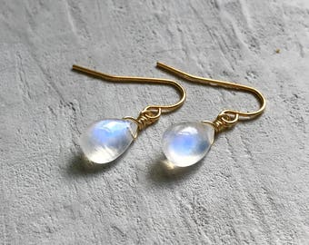 blue fire moonstone earrings with gold plated surgical steel earring hooks