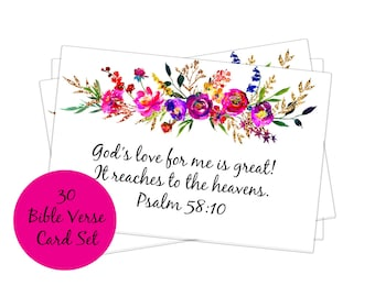 30 Bible verse card set, Scripture card set, scripture note cards, Christian card set, encouraging verses, verses for moms affirmation cards