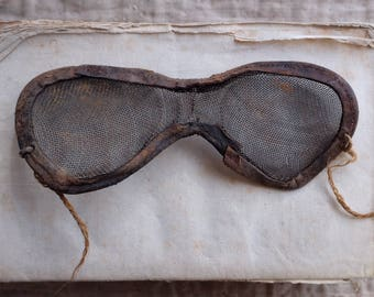 French Antique Art Populaire, Early 1900s handmade leather and wire beekeeper eye mask protection, rustic, collection string, folk art