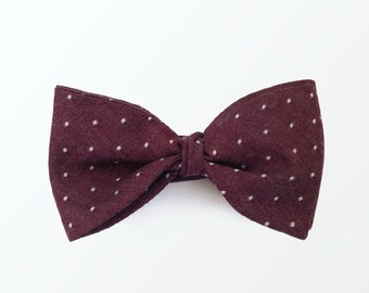 Men's Bow Tie,  Mens Chambray Bowtie,  Mens Burgundy bowtie, Men's polka dot bowtie, Self tie bow tie for men