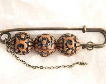 Vintage Carved Beaded Kilt Pin