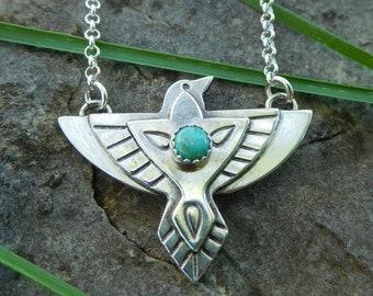 Southwestern raven necklace | Sterling silver bird necklace | Thunderbird necklace | Boho necklace | Turquoise raven necklace |