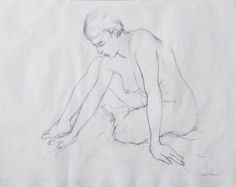 Original Life Drawing 4, Pencil, Nude Sketch, Dessin, Woman, Art, Simple, Croquis, Hand made, Kunst, Modern, large, sitting position, Body