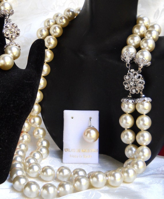 Mallorca Pearl Necklace: Majorca/Mallorca Pearl Necklace Double Strand 12mm White