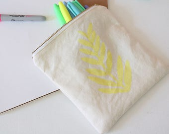 fern leaf hand printed tropical yellow pouch makeup bag gift SALE