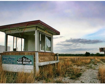 Abandoned Drive-In Sunset Photograph — Route 66 Documentary Photo Art — Now-Gone Oklahoma Theatre Wall Art — Gravel Road — Liberty Images