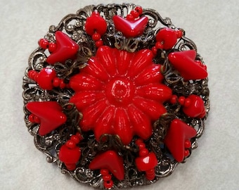 Miriam Haskell Rare 1950's Signed Red Glass Brooch