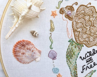 Mermaid Embroidery PATTERN, Mermaid Embroidery Kit,Instant Download PDF,Hand Embroidery Pattern,Printable Stitching Pattern,