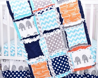 Elephant Baby Boy Rag Quilt Blanket for Jungle or Safari Nursery Crib Bedding - Orange / Navy / Turquoise / Grey - Perfect Shower Gift