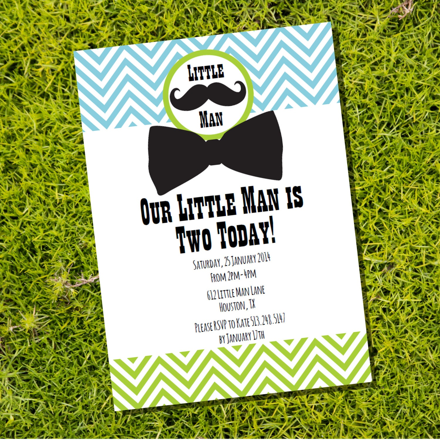 Little Man Birthday Party Invitation for a Boy Instantly