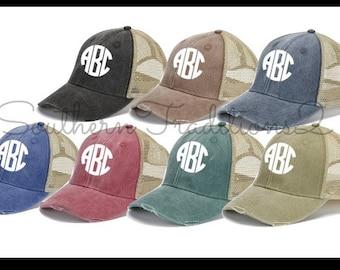 Monogram Trucker Hat - Monogram Distressed Trucker Hat - Monogram Raggy Trucker Hat